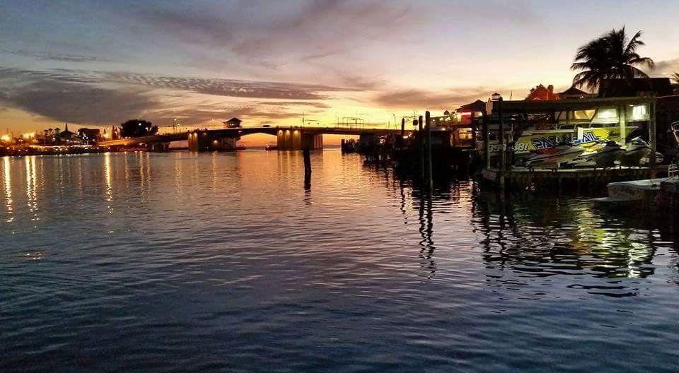 Sunset at the bridge near dock market